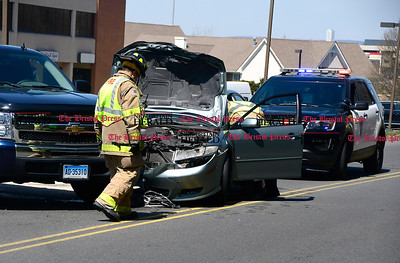 4/11/2017 Mike Orazzi | Staff The scene of a two car crash on West Street in Southington Tuesday afternoon. No more information was available.