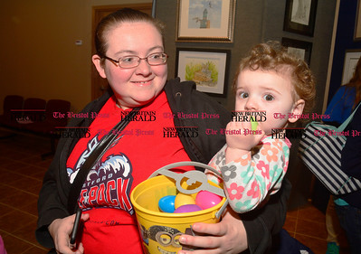 3/25/2016 Mike Orazzi | Staff Christina Husted and her daughter Savannah while at the Barnes Nature Center for an egg hunt on Friday.
