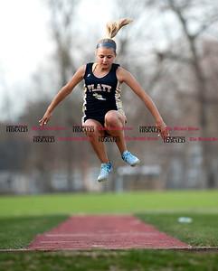 4/11/2017 Mike Orazzi | Staff Platt High School's Elizabeth Garlock in the long jump at Bristol Eastern.