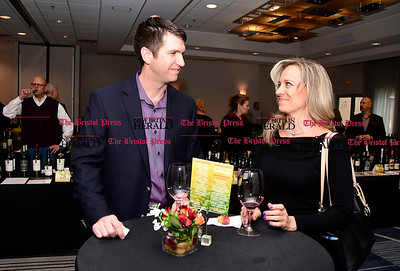 4/1/2017 Mike Orazzi | Staff Michael Fries and Jennifer Lowell during the Bristol Hospital Development Foundation's Festival of Wines & Spirits held at the DoubleTree by Hilton in Bristol Saturday night. The money raised this year will go toward a future renovation project at the hospital's Emergency Center.