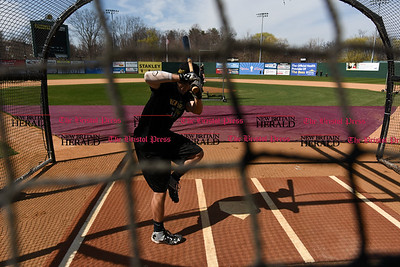 041117  Wesley Bunnell | Staff  The New Britain Bees held their media day on Tuesday afternoon before holding open tryouts later in the evening. Michael Baca takes batting practice thrown by coach Daisuke Yoshida.