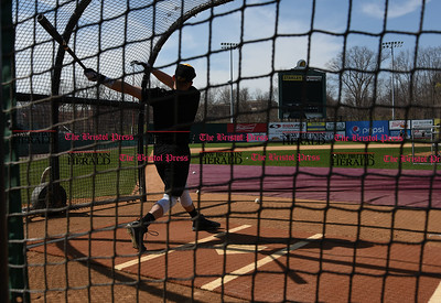 041117  Wesley Bunnell | Staff  The New Britain Bees held their media day on Tuesday afternoon before holding open tryouts later in the evening. Bullpen catcher Cody Charneski takes batting practice thrown by coach Daisuke Yoshida.