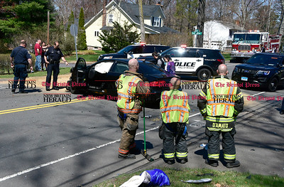 4/14/2017 Mike Orazzi | Staff The scene of two car crash on Camp Street at the intersection of Quail Hollow Lane and Florence Lane on the Plainville Bristol lines Friday morning. One was transported from the scene.