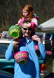 4/14/2017 Mike Orazzi | Staff Isabella Bair, 3 1/2/ with her father Kevin during the Barnes Memorial Nature Center's Annual Easter Egg Hunt on Friday in Bristol.