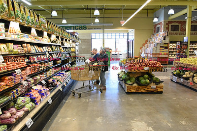 041817  Wesley Bunnell | Staff  Beatrice Crumb, left, shops in the produce section of America's Food Basket along with Maame Thompson. The store which recently opened at 250 Allen St in New Britain has a grand opening planned for later in the month.