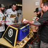 041817  Wesley Bunnell | Staff<br /> <br /> The New Britain elks Lodge 957 held their 35th Annual Welcome Baseball Dinner featuring The New Britain Bees on Tuesday evening. Alvarium Beer Company co-founders Chris DeGasero & Mike Larson serve players Kevin Putkonen (19) left, and Brian Dupra (30).