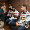 041817  Wesley Bunnell | Staff<br /> <br /> The New Britain elks Lodge 957 held their 35th Annual Welcome Baseball Dinner featuring The New Britain Bees on Tuesday evening. Xavier Robles, age 9, chats with pitcher Brian Dupra (30) as fellow pitcher Joe Beimel (45) signs his baseball.