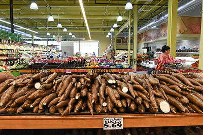 041817  Wesley Bunnell | Staff  Jeanne Fort walks through the produce section of America's Food Basket which recently opened at 250 Allen St in New Britain. A grand opening is planned for later in the month.