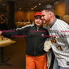 041817  Wesley Bunnell | Staff<br /> <br /> The New Britain elks Lodge 957 held their 35th Annual Welcome Baseball Dinner featuring The New Britain Bees on Tuesday evening. Matthew Cevallos, age 10, takes a selfie with pitcher Eric Fornataro (23).