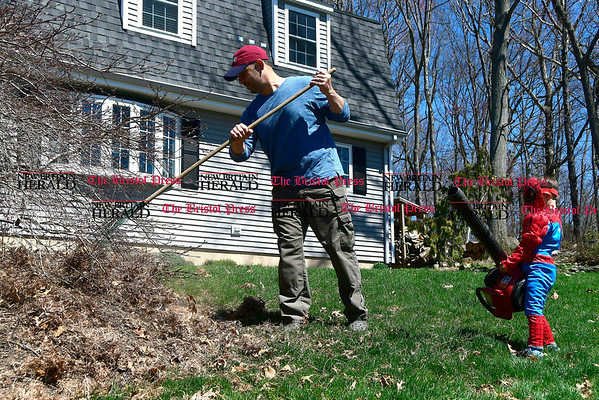 4/18/2017 Mike Orazzi | Staff Dressed as Spiderman Elijah Simmons,4, helps his father Jeff with some yard work on Ipswitch Road Tuesday in Bristol.
