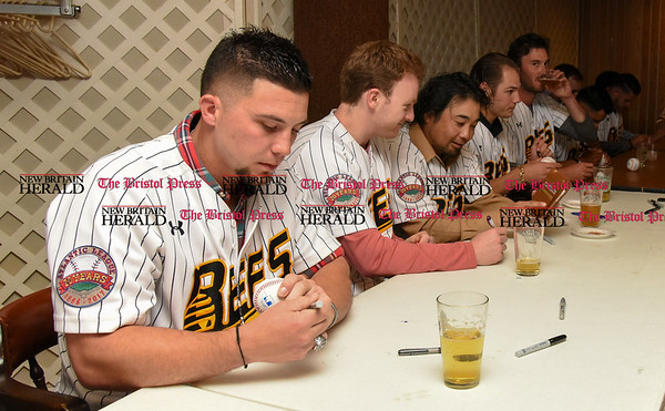 041817 Wesley Bunnell | Staff The New Britain elks Lodge 957 held their 35th Annual Welcome Baseball Dinner featuring The New Britain Bees on Tuesday evening. Craig Maddox (24) signs an autograph.