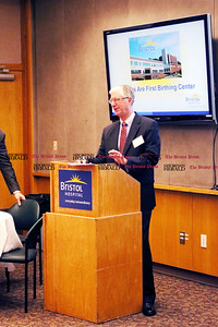 Doug Devnew, secretary and treasurer and Board of Directors member of Bristol Hospital and Health Care Group, Inc., introduces the Bristol Hospital President's Forum Breakfast Friday morning.