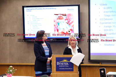 Sharlon Adler, Chair, Obstetrics and Gynecology, and Jill Lombardi, Operations Manager, give a presentation on the Families are First Birthing Center at the Bristol Hospital President's Forum Breakfast Friday morning.