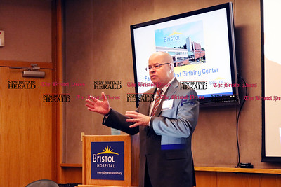 Kurt Barwis, President and CEO of Bristol Hospital and Health Care Group Inc., gives an update on the hospitals finances and projects at the Bristol Hospital President's Forum Breakfast Friday morning.