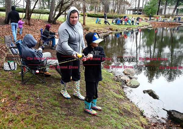 4/22/2017 Mike Orazzi | Staff Jessica Mastropiero and her son Evan during the Bristol Parks and Recreation Department's 66th Annual Perry J. Spinelli Fishing Derby held at Page Park on Saturday.