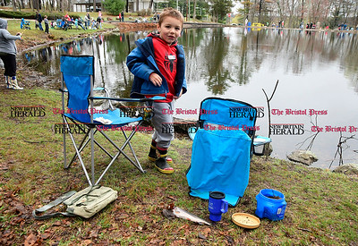 4/22/2017 Mike Orazzi | Staff Matthew D'Esopo talks about the trout he caught during the Bristol Parks and Recreation Department's 66th Annual Perry J. Spinelli Fishing Derby held at Page Park on Saturday.