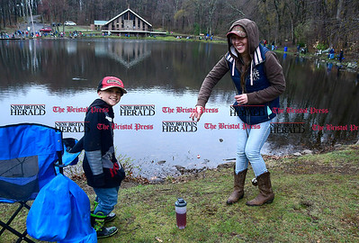 4/22/2017 Mike Orazzi | Staff Brandi Rodriquez and her son Robert while fishing during the Bristol Parks and Recreation Department's 66th Annual Perry J. Spinelli Fishing Derby held at Page Park on Saturday.