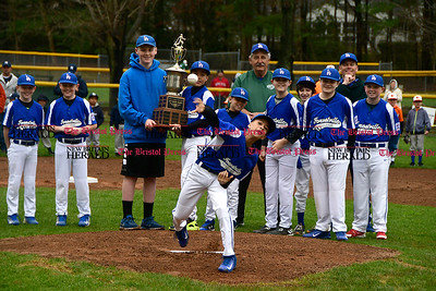 4/22/2017 Mike Orazzi | Staff Jayden Churchill throws out the first pitch on opening day at the Forestville Little in Bristol Saturday.