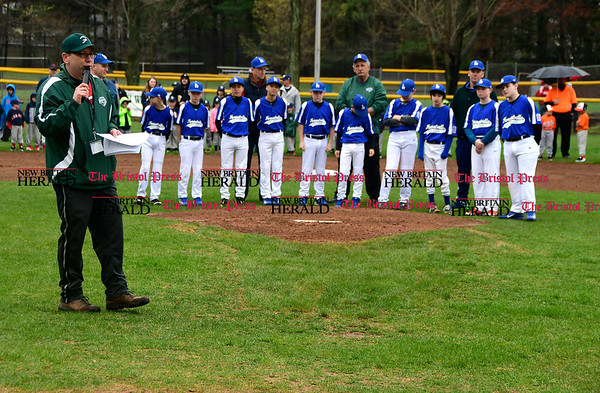 4/22/2017 Mike Orazzi | Staff Forestville Little League President Jeremy Duprey on opening day at the Forestville Little in Bristol Saturday.
