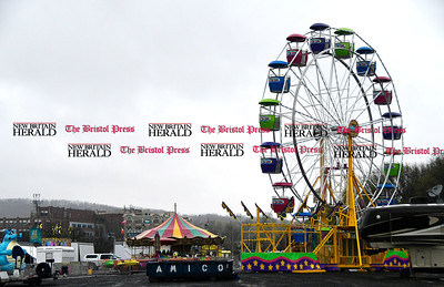 4/25/2016 Mike Orazzi | Staff Rides are being set up for the United Way carnival in downtown Bristol.