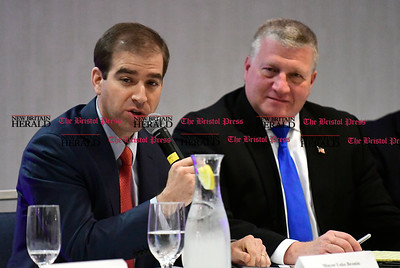4/26/2017 Mike Orazzi | Staff Hartford Mayor Luke Bronin and Bristol Mayor Ken Cockayne during a municipal collaborative forum at the DoubleTree by Hilton Wednesday morning.