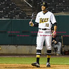 042617  Wesley Bunnell | Staff<br /> <br /> New Britain Bees vs Lancaster Barnstormers on Wednesday evening. Mike Crouse (10) reacts after a strike call