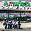 042817  Wesley Bunnell | Staff<br /> <br /> America's Food Basket held a ribbon cutting at their new store located at 250 Allen St. Front row is Economic Development Director Bill Carroll, Andy Ferreira, owner Andres Ferreira, Mayor Erin Stewart, President of the New Britain Chamber of Commerce Tim Stewart & Alderwoman Shirley Black.