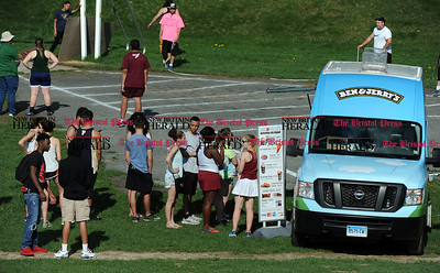 4/28/2017 Mike Orazzi | Staff The ice cream truck during the Bristol Central Invitational Track Meet in Bristol Friday.