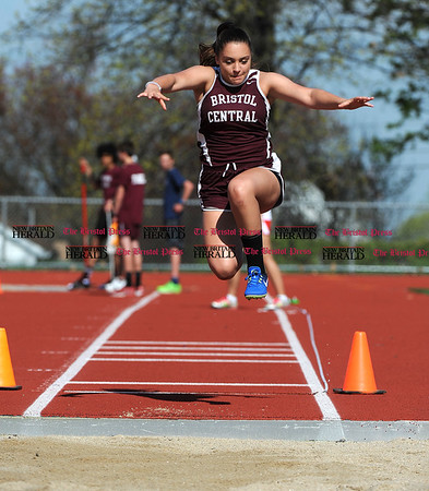 4/28/2017 Mike Orazzi | Staff Bristol Eastern's Paige Bancroft in the long jump during the Bristol Central Invitational Track Meet in Bristol Friday.