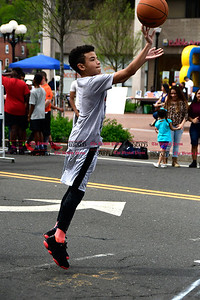 4/29/2017 Mike Orazzi | Staff Caleb Cardona-Lopez in downtown New Britain during the Hoops for Homeless event Saturday.
