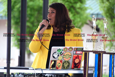 4/29/2017 Mike Orazzi | Staff New Britain Mayor Erin Stewart in downtown New Britain during the Hoops for Homeless event Saturday.