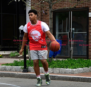 4/29/2017 Mike Orazzi | Staff Kieyont Williams in downtown New Britain during the Hoops for Homeless event Saturday.