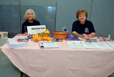 3/26/2016 Mike Orazzi | Staff Bristol Senior Center's Charlene Castle and Carol Kallberg during the second annual Connecticut Prime Time Senior Fair held at Bristol Eastern High School Saturday.
