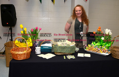3/26/2016 Mike Orazzi | Staff Sheriden Woods Health Care Center's Tina Sears during the second annual Connecticut Prime Time Senior Fair held at Bristol Eastern High School Saturday.