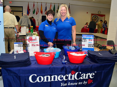 3/26/2016 Mike Orazzi | Staff Connecticare's Lisa O'Hara and Ursula Sowinski during the second annual Connecticut Prime Time Senior Fair held at Bristol Eastern High School Saturday.