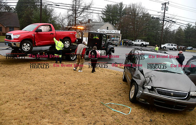 4/4/2017 Mike Orazzi | Staff The scene of two crash at the intersection of Route 6 and Hill Street in Bristol Tuesday afternoon. One was transported with minor injuries and both vehicle were towed from the scene.