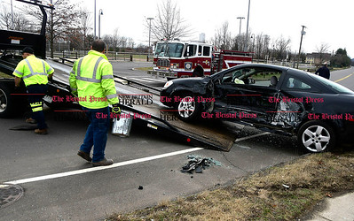 4/5/2017 Mike Orazzi | Staff The scene of two car crash at Lake Avenue and Sunnydale Drive in Bristol Wednesday morning. Both cars were towed and one was transported from the scene.