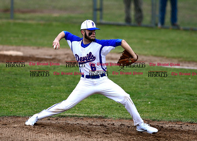 4/5/2017 Mike Orazzi | Staff Plainville's Jordan Bishop (6) while pitching against Bristol Eastern in Plainville Wednesday.