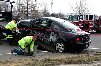 4/5/2017 Mike Orazzi | Staff The scene of two car crash at Lake Avenue and Sunnydale Ave. in Bristol Wednesday morning. Both cars were towed and one was transported from the scene.