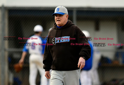 4/5/2017 Mike Orazzi | Staff Bristol Eastern Baseball's Mike Giovinazzo during Wednesday's baseball game with Plainville.