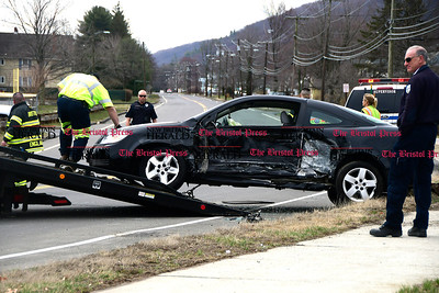 4/5/2017 Mike Orazzi | Staff The scene of two car crash at Lake Avenue and Sunnydale Ave in Bristol Wednesday morning. Both cars were towed and one was transported from the scene.