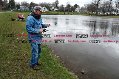 4/8/2017 Mike Orazzi | Staff George Root while fishing during the New Britain Parks and Recreation Department's annual Fishing Derby held at the pond in Stanley Quarter Park Saturday morning.
