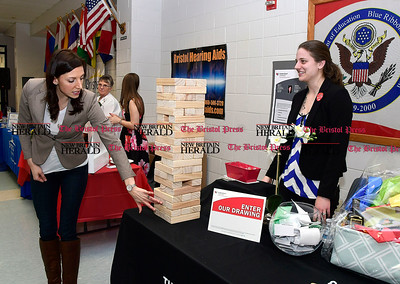 4/7/2017 Mike Orazzi | Staff  Thrivent Financial's Julia Weston and Stephanie Fritz during The Bristol Press & New Britain Herald and Connecticut Prime Time's 3rd Annual Senior Fair held at Bristol Eastern High School Saturday.
