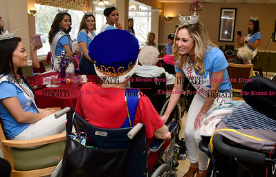 """Miss Fairfield County 2017 Eliza Lynne Kanner sings """"God Bless America"""" during a visit to Countryside Manor Saturday morning in Bristol. She was there with other Miss Connecticut hopefuls as part of Miss Connecticut Alyssa Rae Taglia' """"Smiles for Seniors"""" program."""