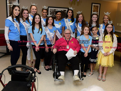 4/8/2017 Mike Orazzi | Staff Miss Connecticut Alyssa Rae Taglia with Countryside Manor's Barbara Papst while visiting the facility with Miss Connecticut hopefuls Saturday morning in Bristol.