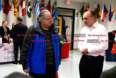 4/7/2017 Mike Orazzi | Staff Jeffrey Flannery talks with Shady Oaks's Tyson Belanger during The Bristol Press & New Britain Herald and Connecticut Prime Time's 3rd Annual Senior Fair held at Bristol Eastern High School Saturday.