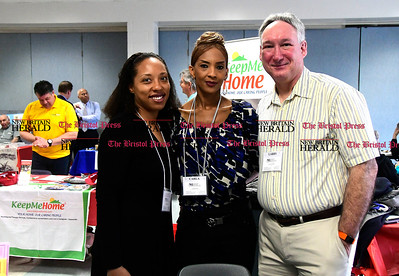 4/7/2017 Mike Orazzi | Staff Nirenstein Horowitz & Associates' Leigh Pilgrim, Carla Cate and Larry O'Neal during The Bristol Press & New Britain Herald and Connecticut Prime Time's 3rd Annual Senior Fair held at Bristol Eastern High School Saturday.