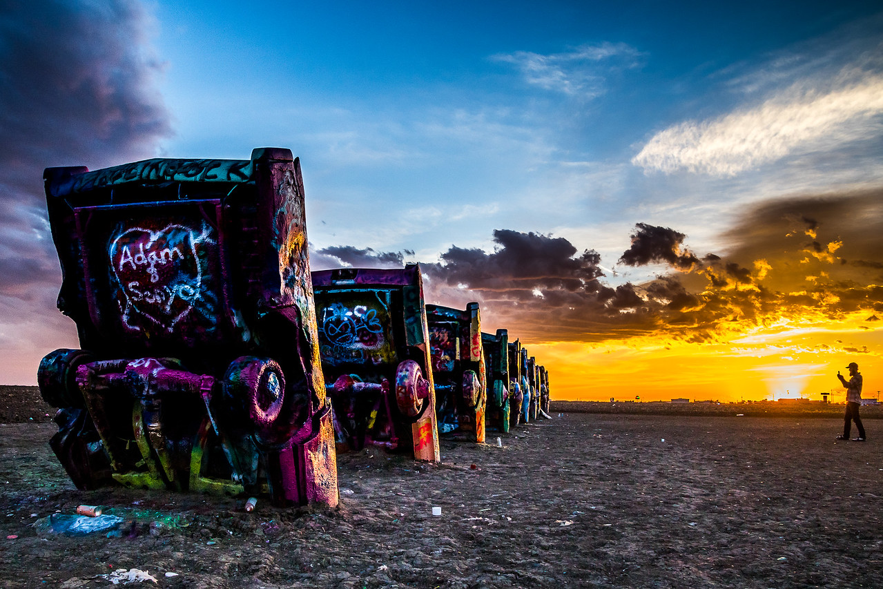 Adam was here. Cadillac Ranch