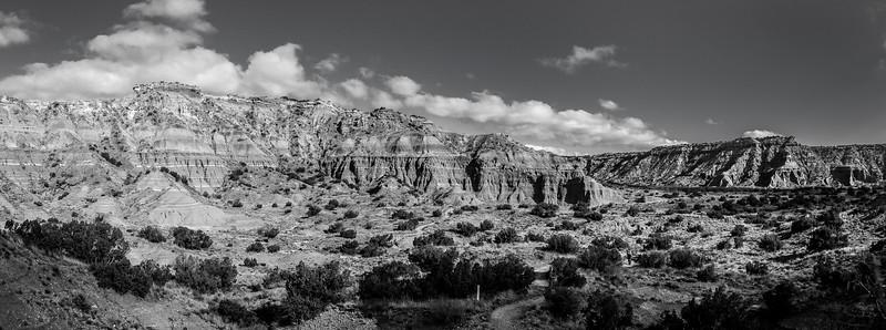 Palo Duro Canyon Black and White Panorama