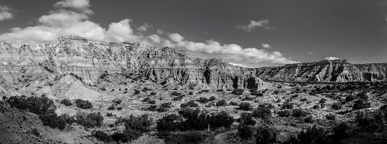 Palo Duro Canyon Black and White Panorama